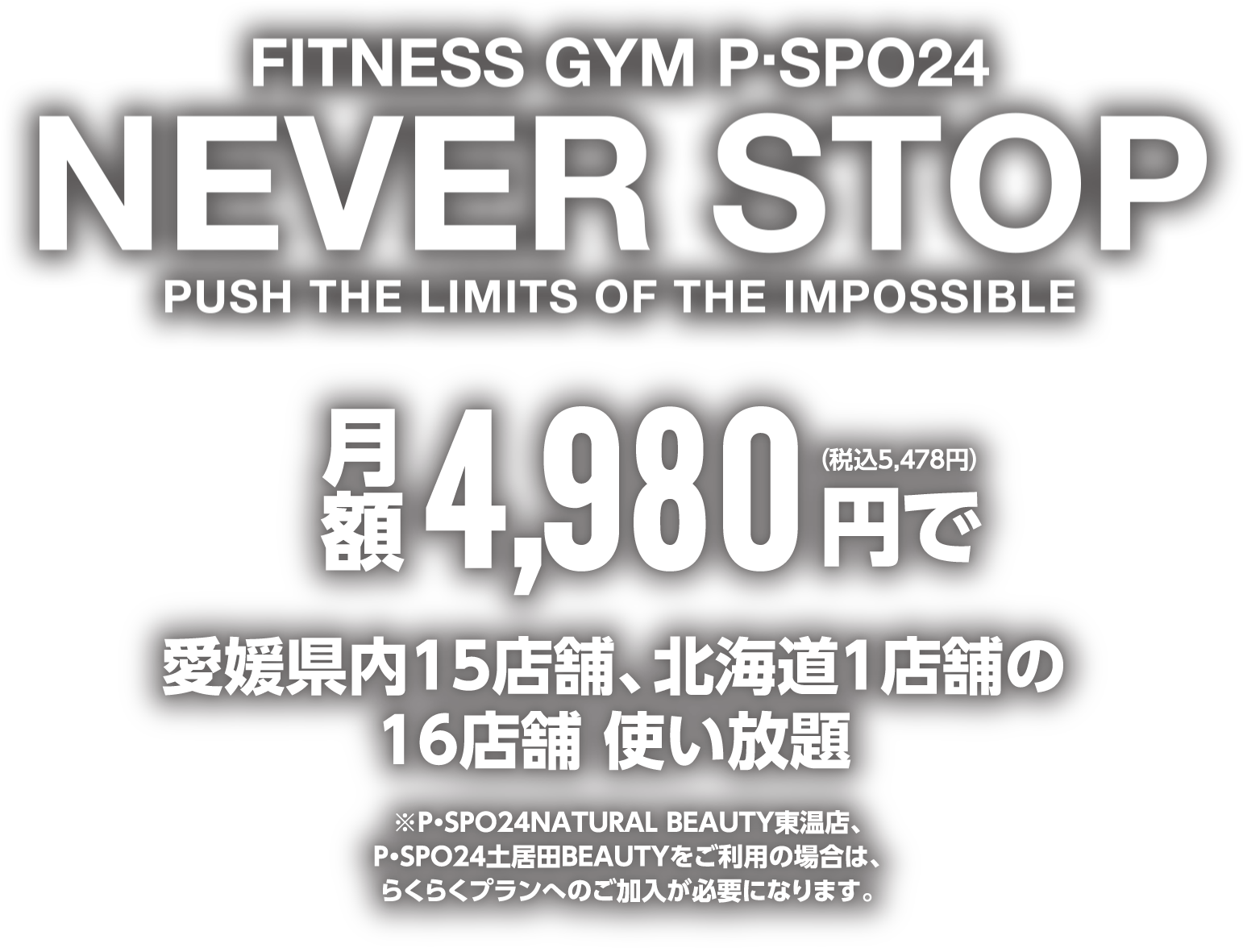 FITNESS GYM P・SPO24 NEVER STOP PUSH THE LIMIT OF THE IMPOSSIBLE
